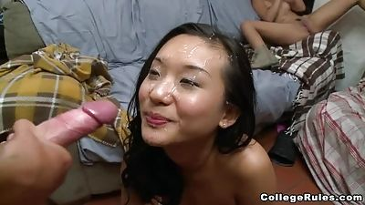 Faculty orgy ends with facial cumshot