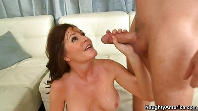 Soothing her son's buddy... and using facial