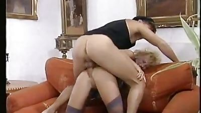 Hot blond Euro milf gets fucked in the booty, in clothes