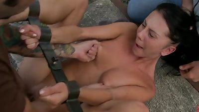 Nice Felicia gets fucked hard with help of stranger