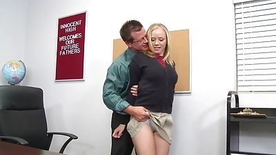 Blond college girl and her teacher