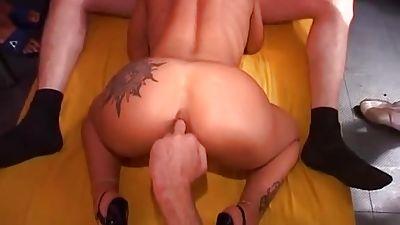 Tattooed Milf gets group-fucked