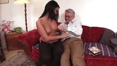 Young college girl tongued and fucked by old man