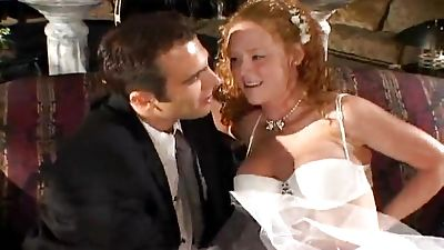 Curly bride gets fucked in the bum