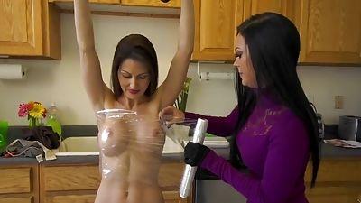 Titties in tight plastic wrap