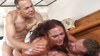 Ultra-cute bride getting fucked by two