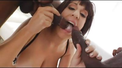 Youthfull chesty gets her flawless ass fucked by TWO big black cocks