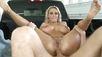 Huge-chested mommy gets her bootie fucked and creamed