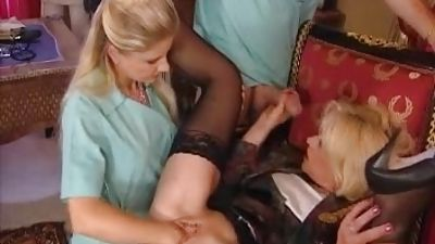 Going knuckle deep and assfuck treatment to their patient that is mature