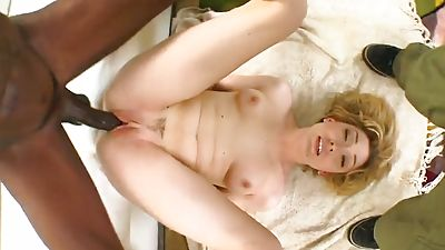 Lilly gets spread with big black dick and takes facial cumshot cum shot