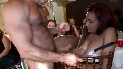 Stroking and getting facial popshots in front of friends