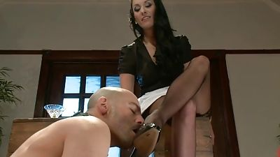 Slut Maid him gobble her boots