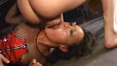 Supremacy. Asian in latex gets very hard by Two