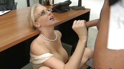 Mrs. Julia Ann cries as her pupil pounding her