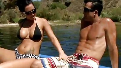 Jayden Jaymes on a boat together with her pal's brutha