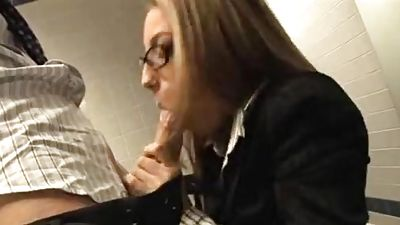 An assistant gets fucked by her coworker, then by her supervisor