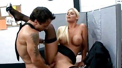 Hot blonde Phoenix Marie man rod rails her coworker