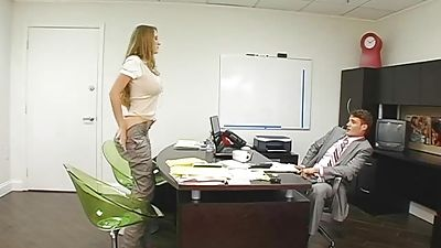 Lengthy haired assistant leaned over and fucked