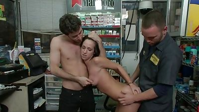 Jada Stevens gets banged by two in a store