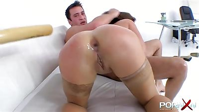 Two workers manhandling their chief by assfuck fisting